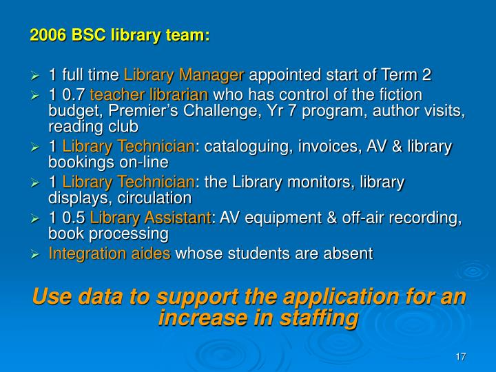 2006 BSC library team: