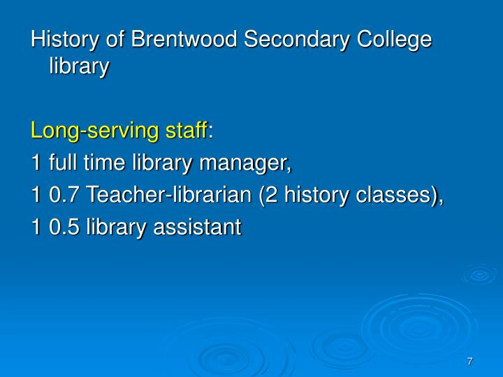 History of Brentwood Secondary College library