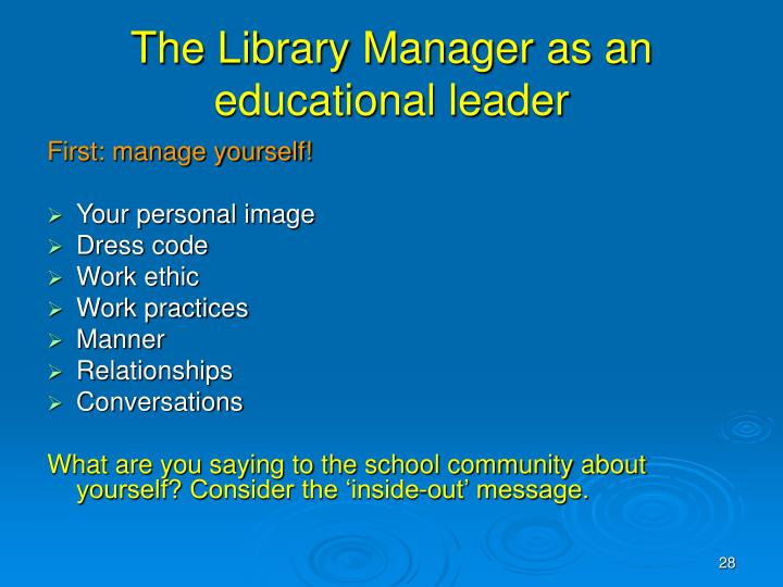 The Library Manager as an educational leader