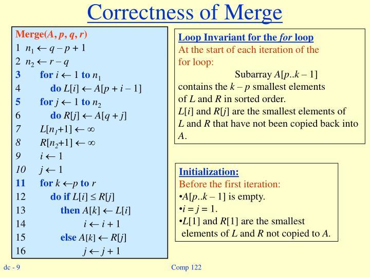 Correctness of Merge