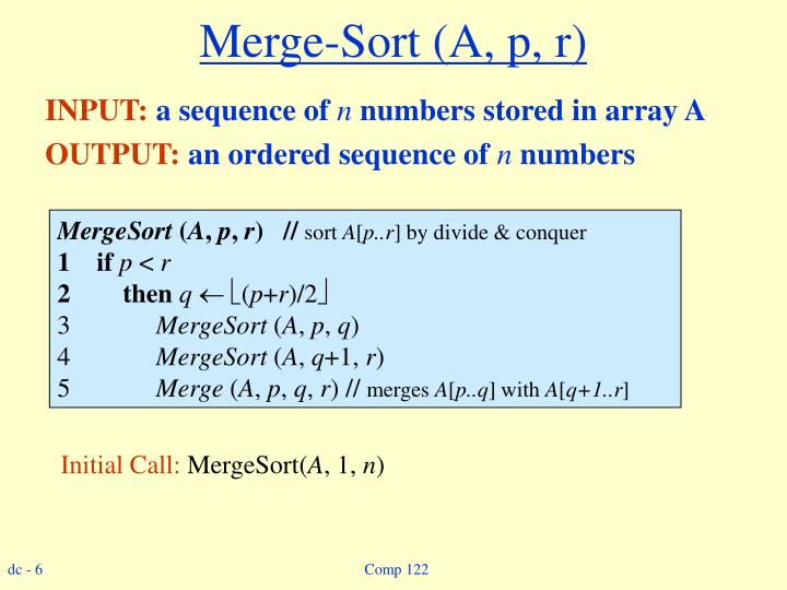 Merge-Sort (A, p, r)