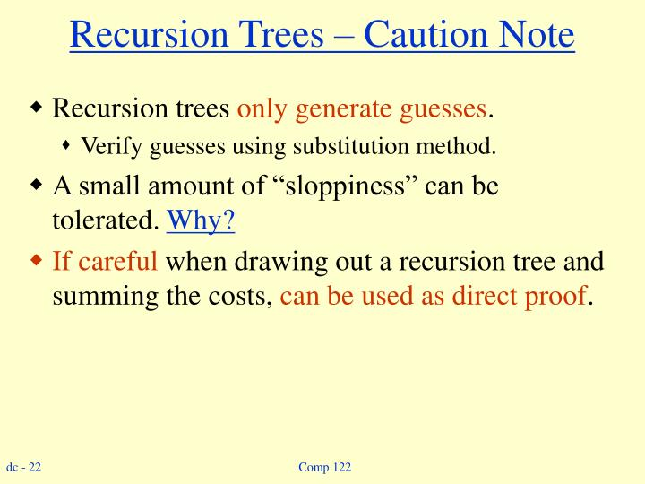 Recursion Trees – Caution Note
