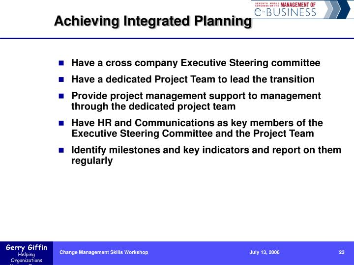 Achieving Integrated Planning
