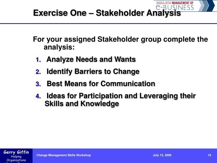 Exercise One – Stakeholder Analysis
