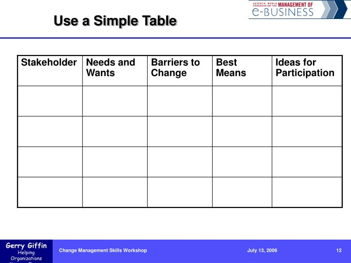 Use a Simple Table