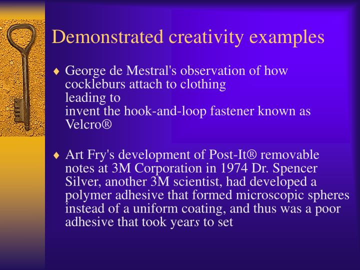 Demonstrated creativity examples