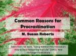 common reasons for procrastination