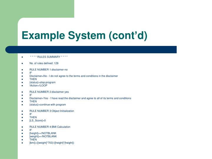 Example System (cont'd)