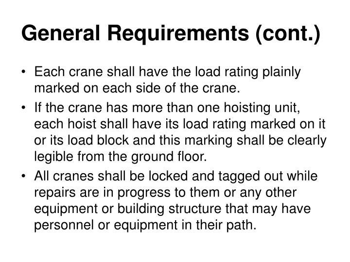 General Requirements (cont.)