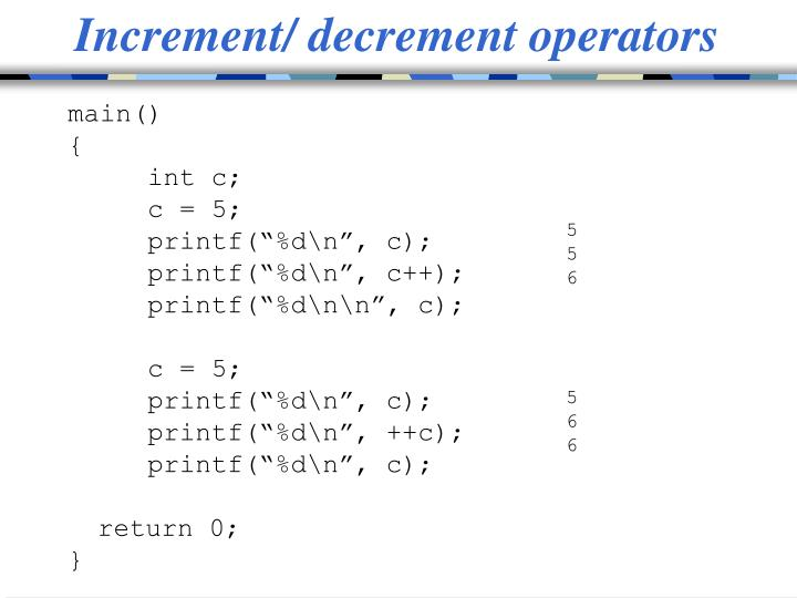 Increment/ decrement operators
