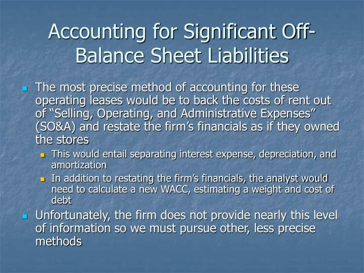 Accounting for Significant Off-Balance Sheet Liabilities