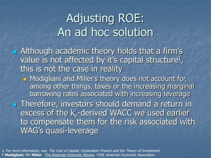 Adjusting ROE: