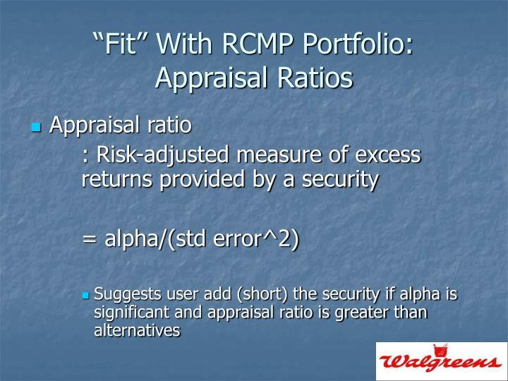 """Fit"" With RCMP Portfolio:"