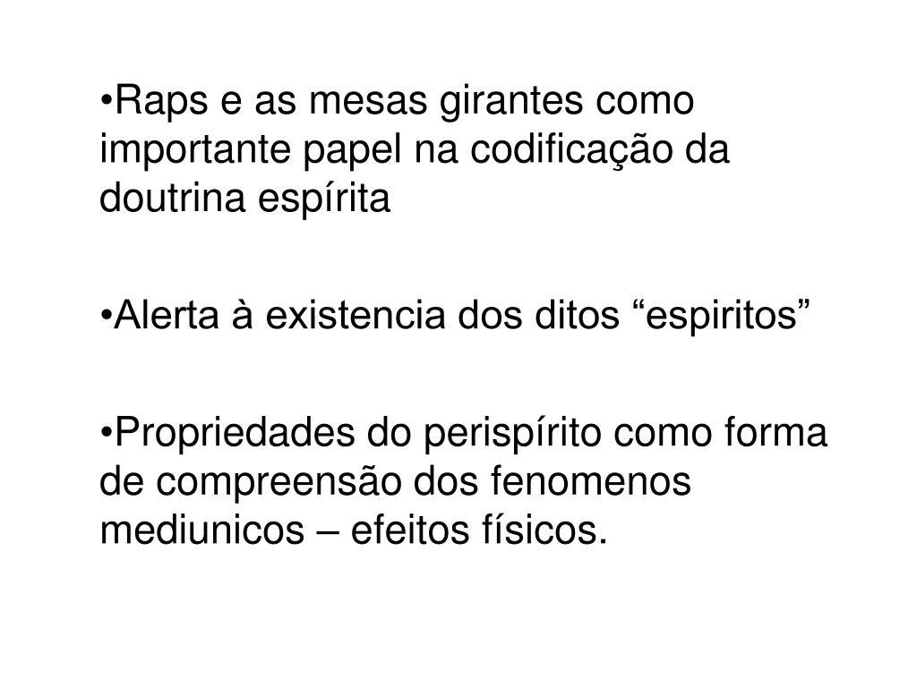 Raps e as mesas girantes como importante papel na codificação da doutrina espírita