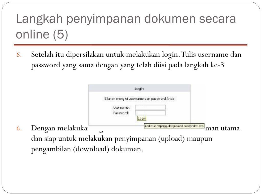 Langkah penyimpanan dokumen secara online (5)
