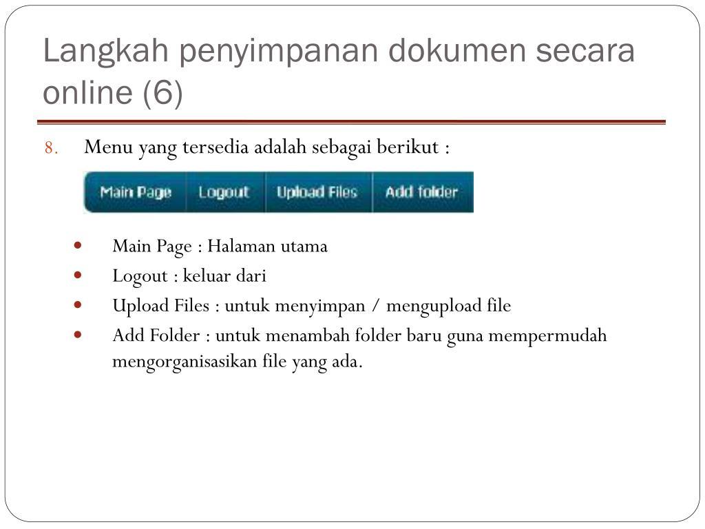 Langkah penyimpanan dokumen secara online (6)
