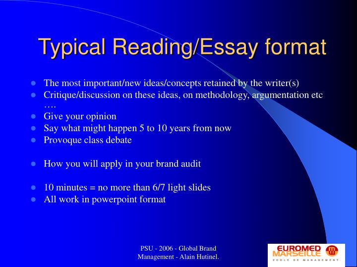 Typical Reading/Essay format