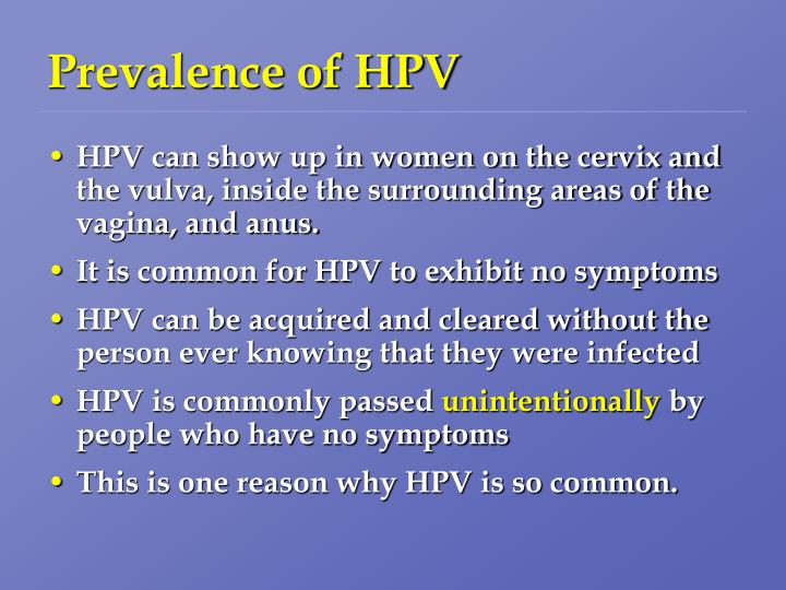Prevalence of HPV