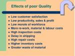 effects of poor quality
