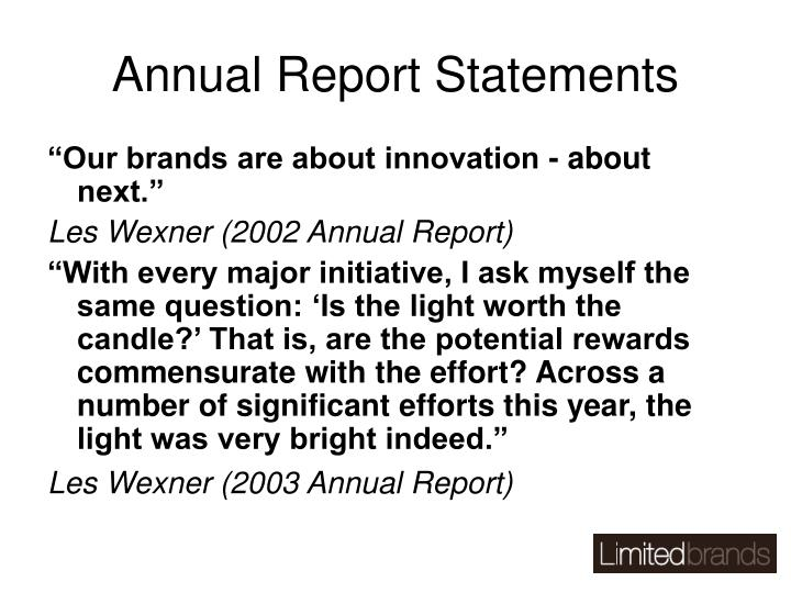 Annual Report Statements