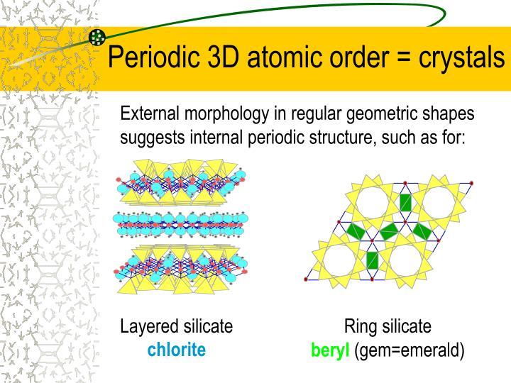 Periodic 3D atomic order = crystals
