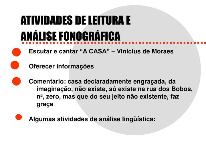 ATIVIDADES DE LEITURA E
