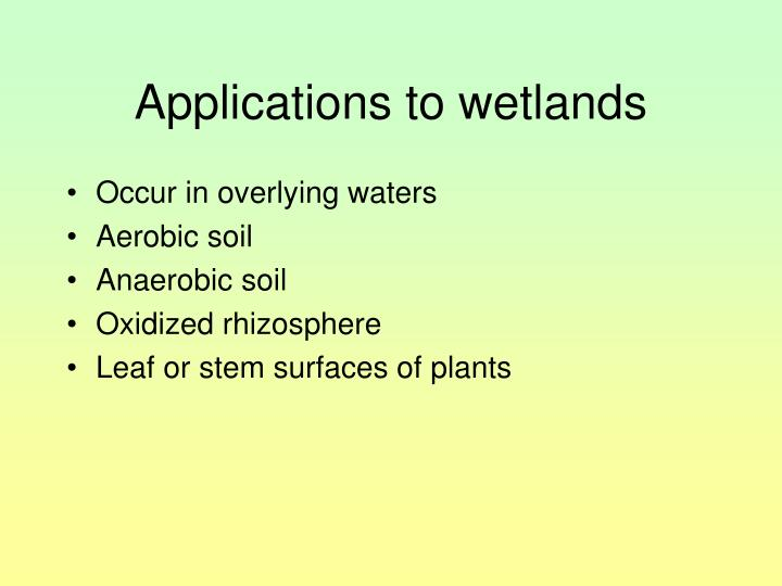 Applications to wetlands