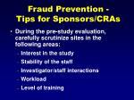 fraud prevention tips for sponsors cras