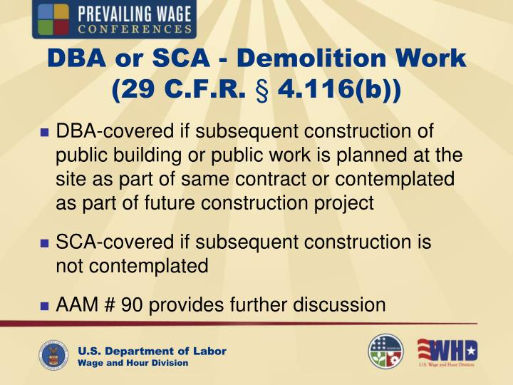 DBA or SCA - Demolition Work