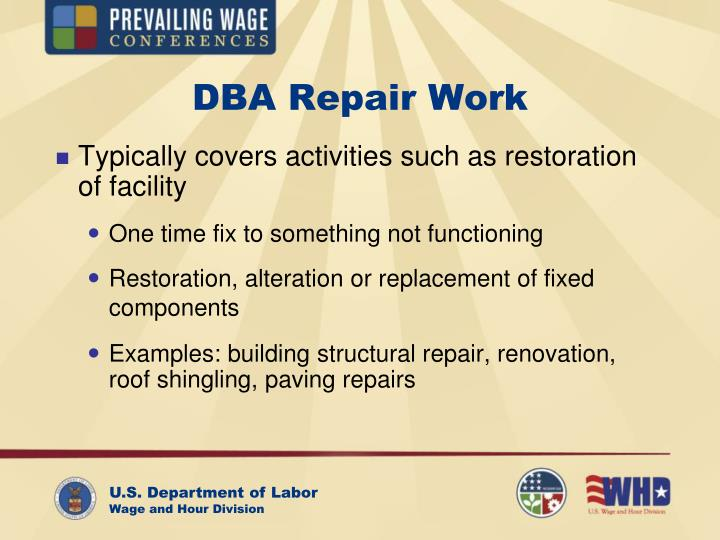 DBA Repair Work