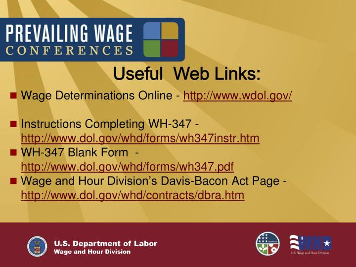 Useful  Web Links: