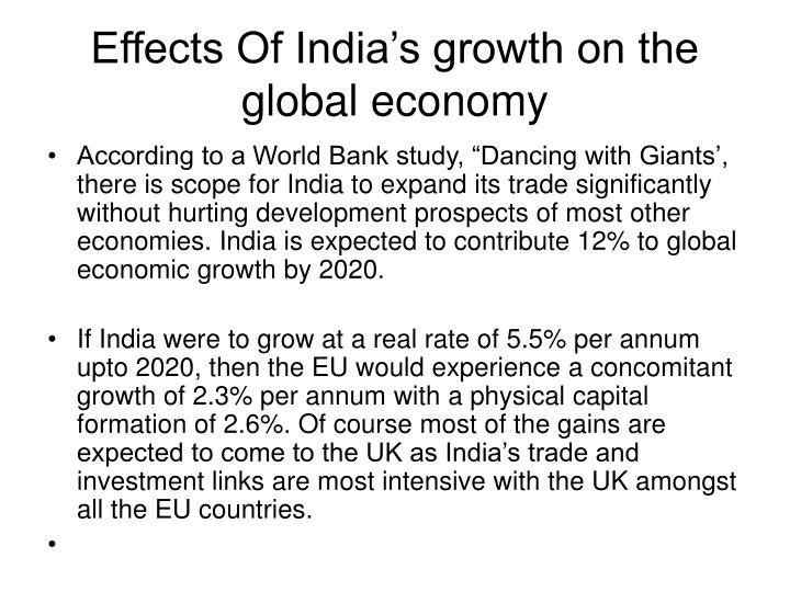 Effects Of India's growth on the global economy