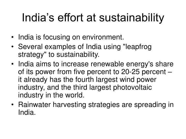 India's effort at sustainability