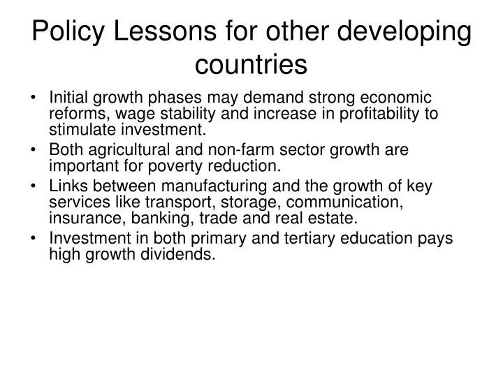 Policy Lessons for other developing countries