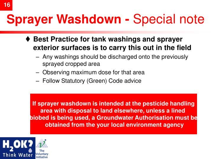 Sprayer Washdown