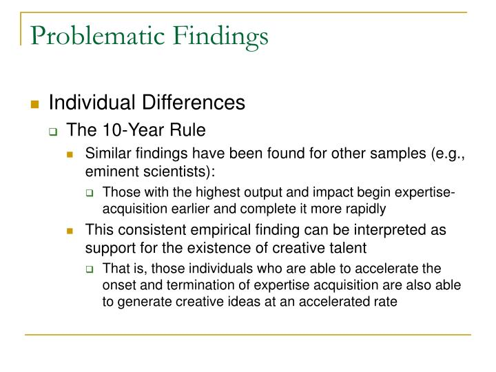 Problematic Findings