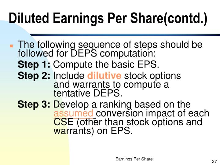 Diluted Earnings Per Share(contd.)