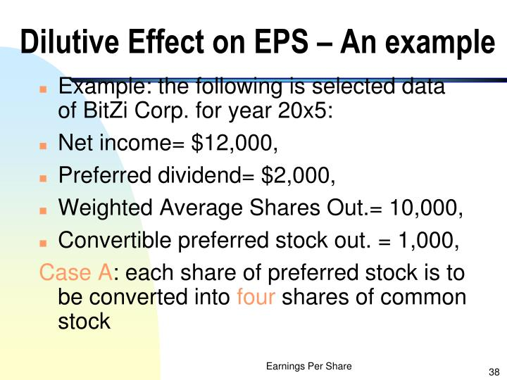 Dilutive Effect on EPS – An example