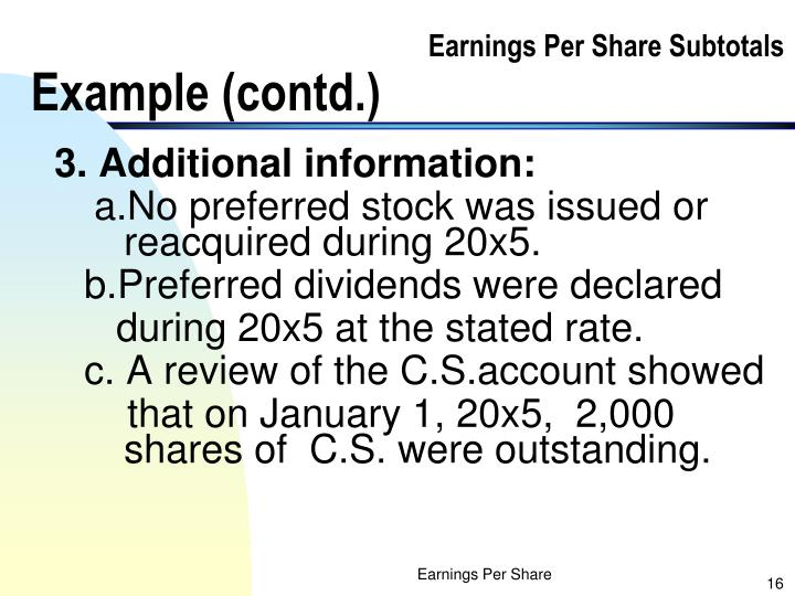 Earnings Per Share Subtotals