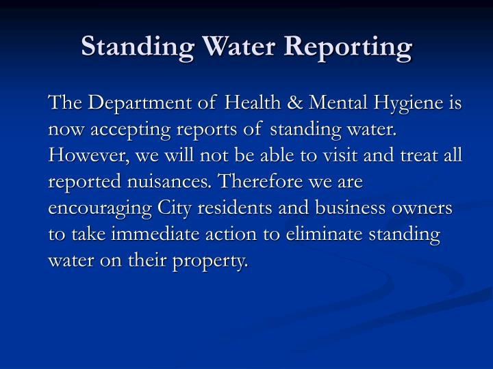 Standing Water Reporting