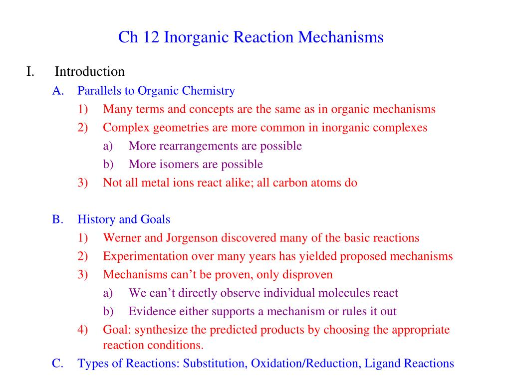 PPT - Ch 12 Inorganic Reaction Mechanisms PowerPoint Presentation