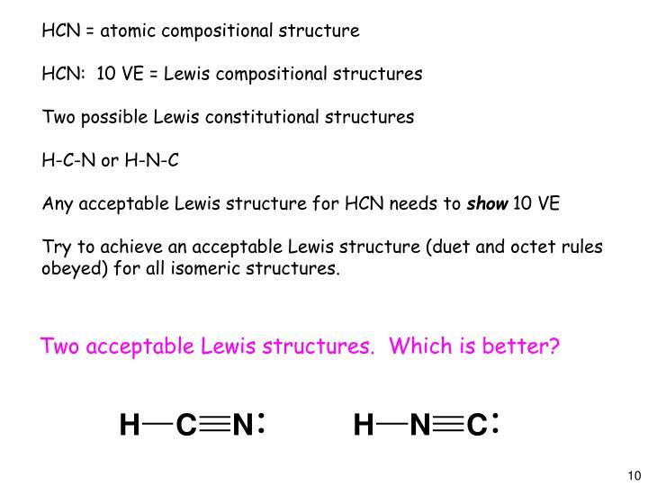 HCN = atomic compositional structure