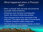 what happened when a pharaoh died