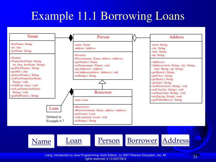 Example 11.1 Borrowing Loans