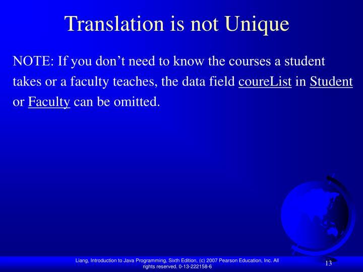 Translation is not Unique