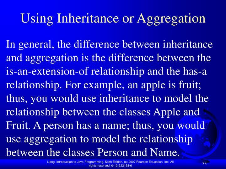 Using Inheritance or Aggregation