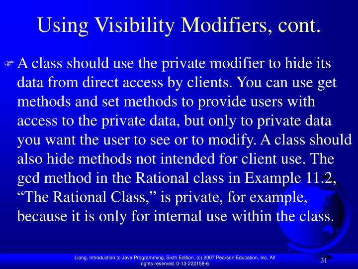Using Visibility Modifiers, cont.