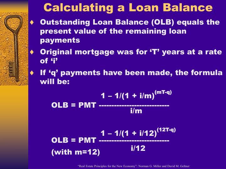 Calculating a Loan Balance