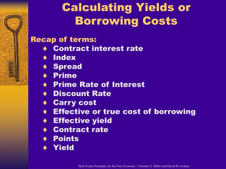 Calculating Yields or Borrowing Costs