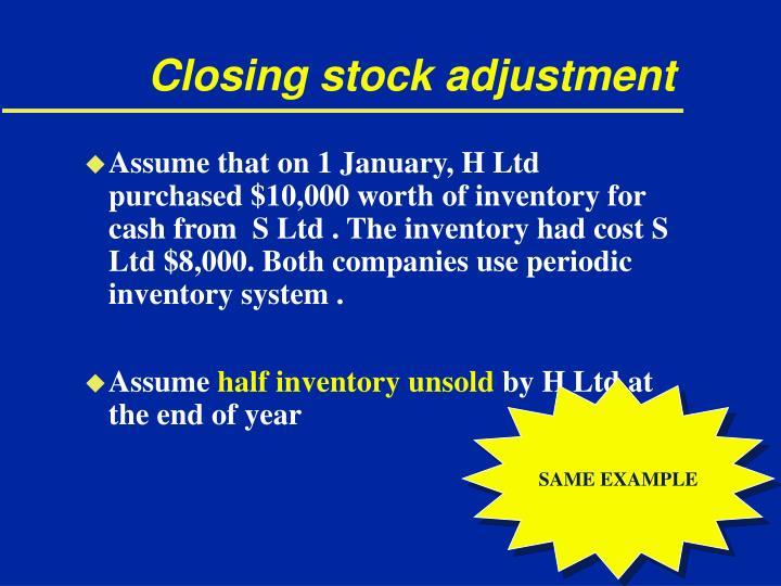 Closing stock adjustment